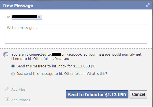 Facebook -Sending Messages -Charges Users